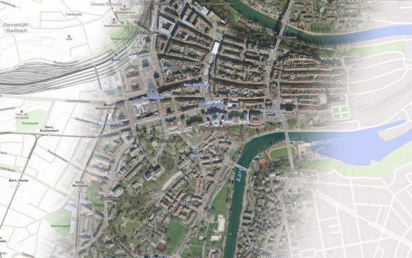 Stadt Bern - Überblendung von Luftbild und Karte