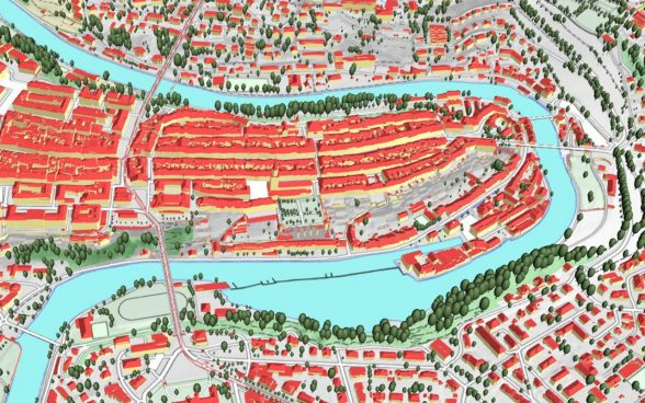 Virtual representation of the old town of Bern, seen from the air