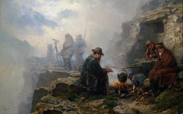 The painting shows four people sitting around a campfire in mountainous terrain. In the background two men are standing behind a theodolite in the mist.