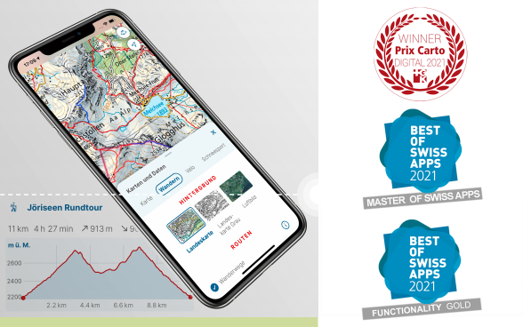 Smartphone mit swisstopo-App POI Appenzell / App Icon / Höhenprofil einer Route