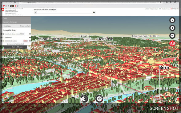 3D model of the city of Bern in the federal government map viewer