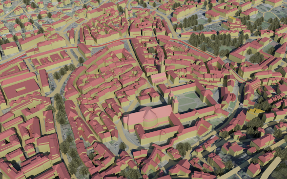 Extract of a virtual 3D flight over the modelled buildings of St. Gallen