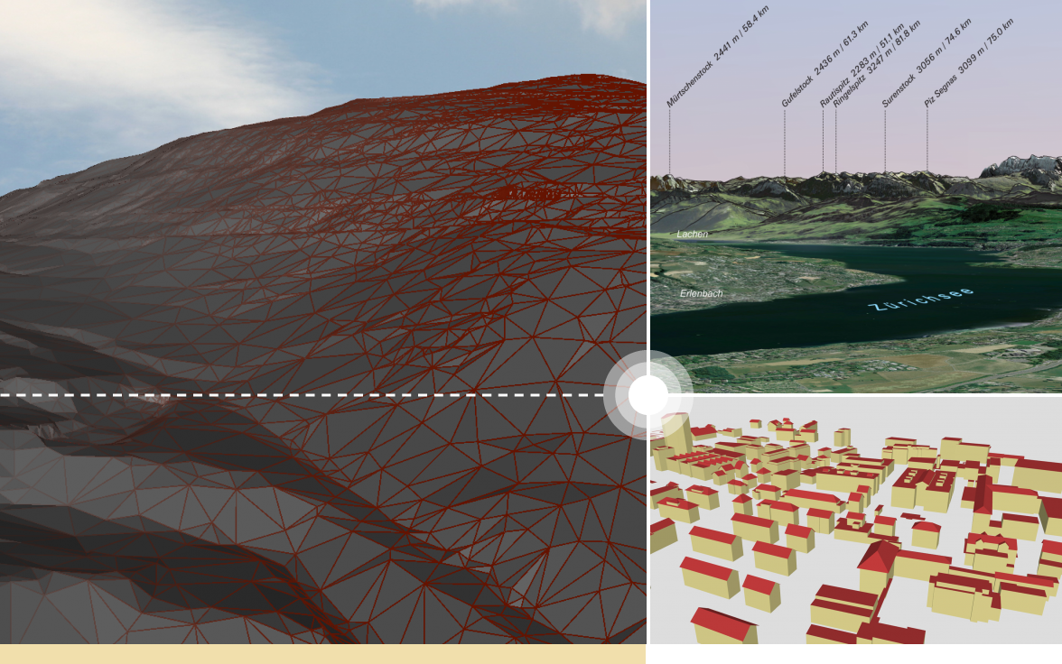 The cover picture shows the terrain in FBX format on the left and the Digirama and buildings of swissBUILDINGS3D 2.0 in OBJ format on the right, three services offered by swisstopo