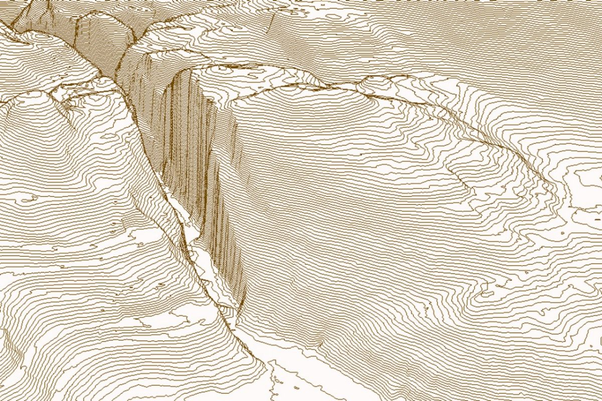 Example of a contour data set calculated from a terrain model