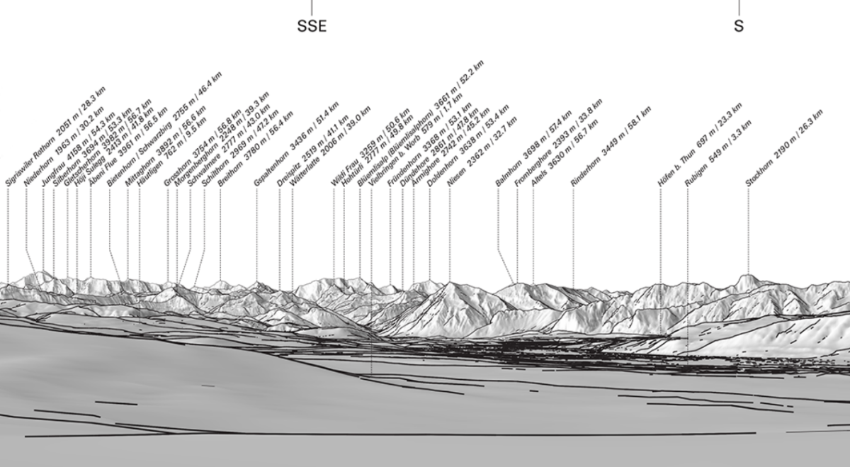 Extract from a DIGIRAMA Standard showing the view from Rümligen (canton of Bern) in the direction of the Brienzer Rothorn. The grey-scale image depicts the existing terrain outline.