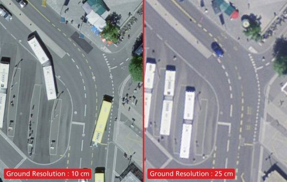 Orthophotos samples with a ground resolution of 10 cm (left) and 25 cm (right)