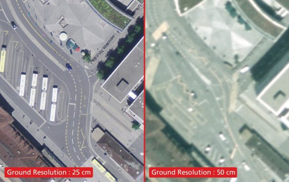 Orthophotos samples with a ground resolution of 25 cm (left) and 50 cm (right)