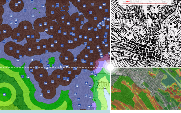 Collage of digital maps from different federal offices