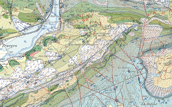 Extract from the Travers sheet of the Geological Atlas of Switzerland 1:25 000 (GA25)