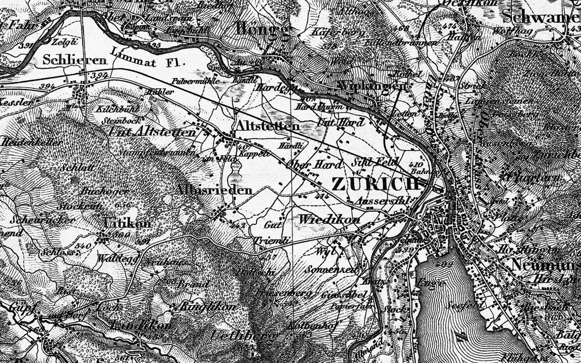 Extract from the Dufour map depicting the vicinity of Zurich. The extract from sheet 8 of the first edition of the 1:100 000 Dufour Map dates from 1861.