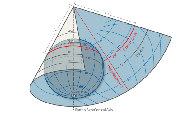 An equal area, untrue conical projection was chosen for the Dufour Map, known as the Bonne projection.