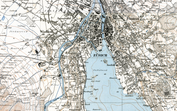Extract from the Siegfried Map depicting the vicinity of Zurich. The extract from sheet 161 of the first edition of the 1:25 000 Siegfried Map dates from 1881.