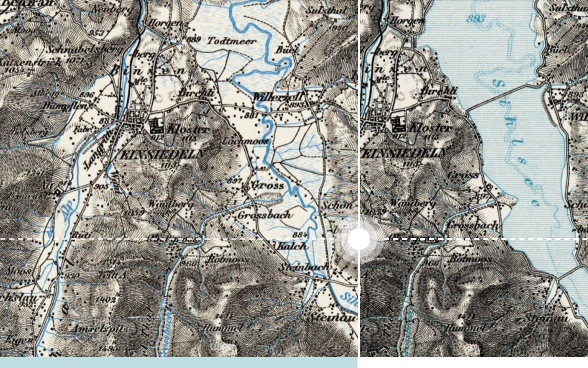 Comparing two Dufour maps (1930/1934) before and after the impound of the Sihlsee at Einsiedeln