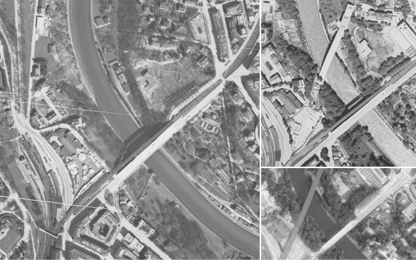 Time series of aerial photos (1931, 1938, 1981), documenting the emergence of the railway bridge in Bern