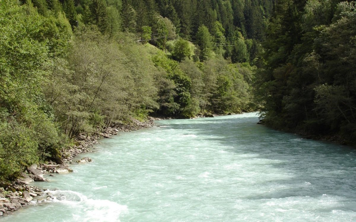 The Inn River marks the border between Austria and Switzerland