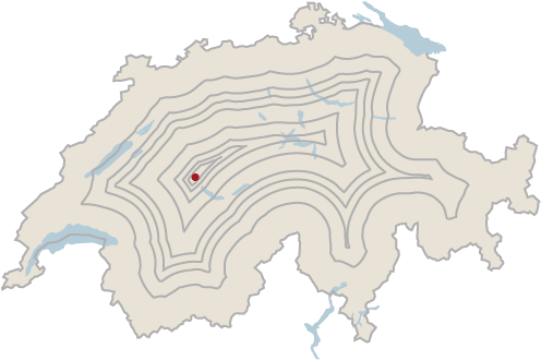 The most distant point from the national border in Switzerland is determined by drawing parallel lines from the border at an ever-increasing distance from it. In the last remaining area lies the point you are looking for.
